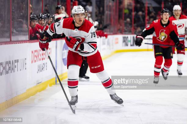 Carolina Hurricanes Right Wing Micheal Ferland applies pressure on a forecheck during first period National Hockey League action between the Carolina...