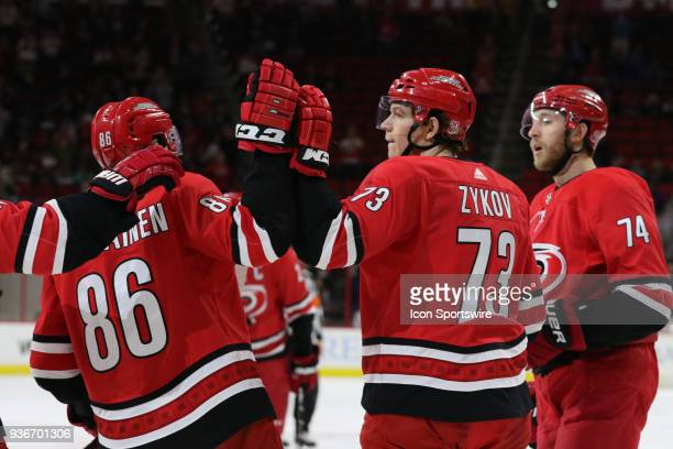 Carolina Hurricanes Right Wing Valentin Zykov get high five for his goal from Carolina Hurricanes Winger Teuvo Teravainen during the 1st period of...