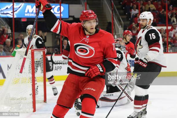 Carolina Hurricanes Right Wing Valentin Zykov with the second goal during the 1st period of the Carolina Hurricanes game versus the Arizona Coyotes...