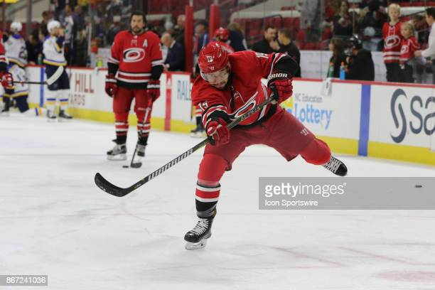 Carolina Hurricanes Winger Josh Jooris during warmups period of the Carolina Hurricanes game versus the St Louis Blues on October 27 at PNC Arena in...