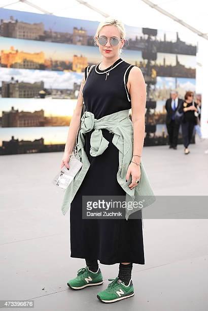 Carolina is seen wearing a vintage jacket Zara dress New Balance shoes Balenciaga bag and Christian Dior sunglasses at Frieze New York 2015 at...