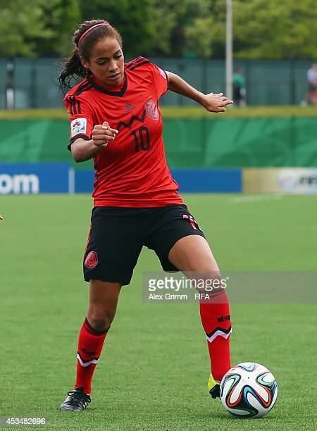 Carolina Jaramillo of Mexico controles the ball during the FIFA U20 Women's World Cup Canada 2014 group C match between England and Mexico at Moncton...