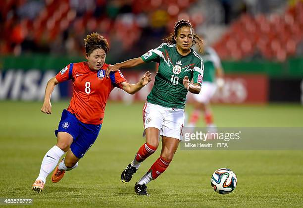 Carolina Jaramillo of Mexico controls the ball against Lee Sodam of Korea Republic during the FIFA U20 Women's World Cup Canada 2014 Group C match at...