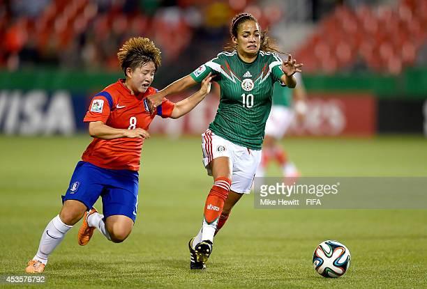 Carolina Jaramillo of Mexico controls the ball against Lee Sodam of Korea Republic during the FIFA U20 Women's World Cup Canada 2014 Group C match at...