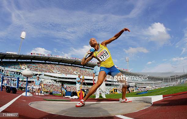 Carolina Kluft of Sweden competes during the Shot Put discipline in the Women's Heptathlon on day one of the 19th European Athletics Championships at...