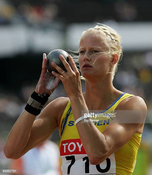 Carolina Kluft of Sweden competes during the women's Shot Put discipline of the heptathlon at the 10th IAAF World Athletics Championships on August 6...