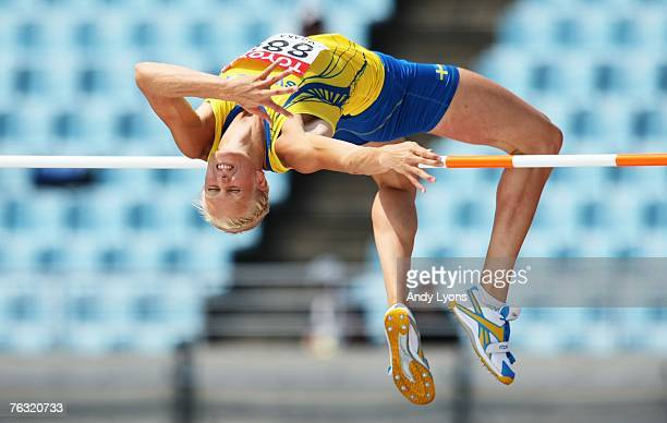 Carolina Kluft of Sweden competes in the High Jump during the Women's Heptathlon on day one of the 11th IAAF World Athletics Championships on August...