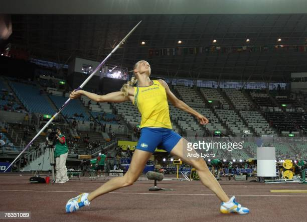 Carolina Kluft of Sweden competes in the Javelin event during the Women's Heptathlon on day two of the 11th IAAF World Athletics Championships on...