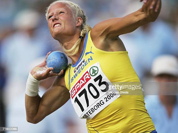 Carolina Kluft of Sweden in action during the shot put discipline of the women's Heptathlon on day one of the 19th European Athletics Championships...