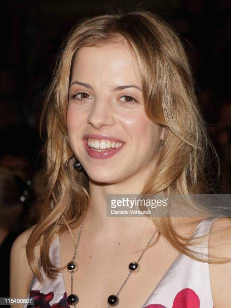 Carolina Kostner attends the Roberto Cavalli fashion show as part of Milan Fashion Week Autumn/Winter 2008/09 on February 20 2008 in Milan Italy