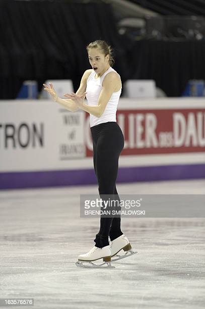 Carolina Kostner competing for Italy practices at Budweiser Gardens in preparation for the 2013 World Figure Skating Championships in London,...