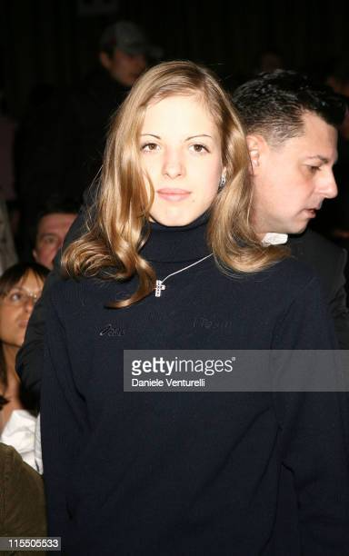 Carolina Kostner during Milan Fashion Week Autumn/Winter 2006 Roberto Cavalli Front Row at Arco della Pace Piazza Semipione in Milan Italy