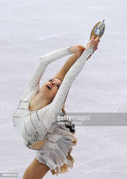 Carolina Kostner of Italy competes during the Ladies Free Skating event of the 2009 World Figure skating Championships at the Staples Center in Los...