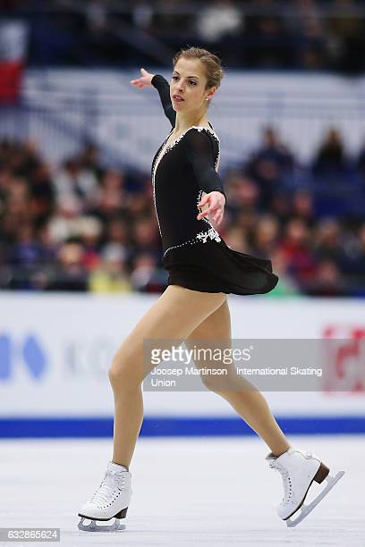 Carolina Kostner of Italy competes in the Ladies Free Skating during day 3 of the European Figure Skating Championships at Ostravar Arena on January...