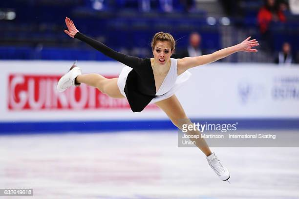 Carolina Kostner of Italy competes in the Ladies Short Program during day 1 of the European Figure Skating Championships at Ostravar Arena on January...