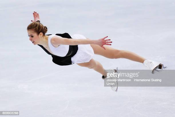 Carolina Kostner of Italy competes in the Ladies Short Program during day one of the World Figure Skating Championships at Hartwall Arena on March 29...