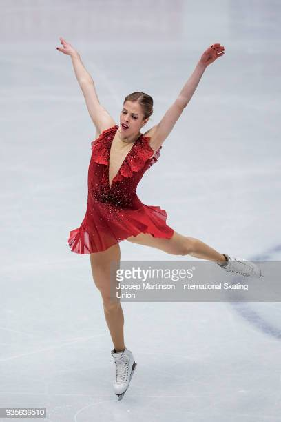Carolina Kostner of Italy competes in the Ladies Short Program during day one of the World Figure Skating Championships at Mediolanum Forum on March...