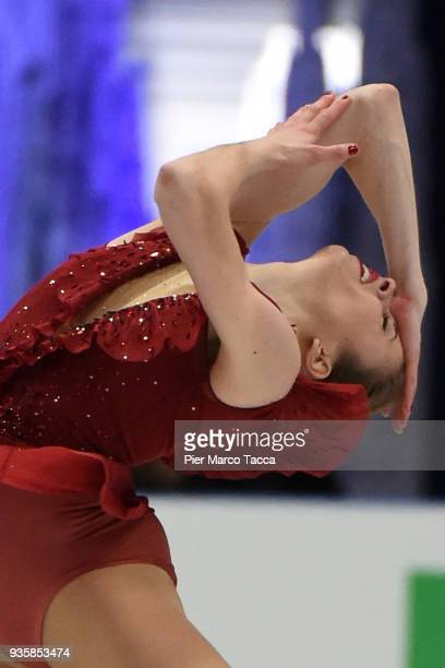 Carolina Kostner of Italy competes in the Ladies Short Program on day one of the World Figure Skating Championships at the Mediolanum Forum on March...