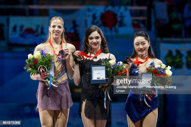 Carolina Kostner of Italy Evgenia Medvedeva of Russia and Wakaba Higuchi of Japan pose in the Ladies medal ceremony during day three of the ISU Grand...