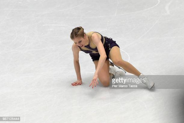 Carolina Kostner of Italy falls down in women free skating during day three of the World Figure Skating Championships at Mediolanum Forum on March 23...