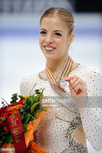 Carolina Kostner of Italy holding her medal in the vicotory ceremony during the ISU European Figure Skating Championship at the Hartwall Areena on...