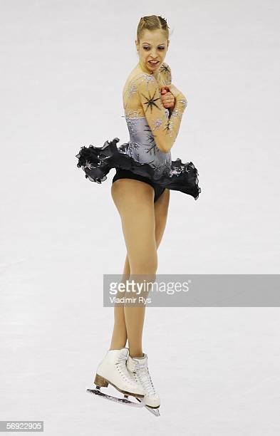 Carolina Kostner of Italy performs during the women's Free Skating program of figure skating during Day 13 of the Turin 2006 Winter Olympic Games on...