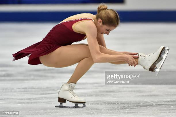 Carolina Kostner of Italy performs during the women's singles short program of the Grand Prix of Figure Skating 2017/2018 NHK Trophy in Osaka on...