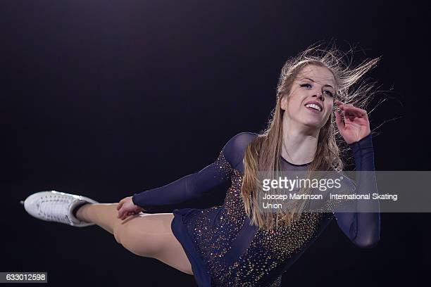 Carolina Kostner of Italy performs in the gala exhibition during day 5 of the European Figure Skating Championships at Ostravar Arena on January 29...