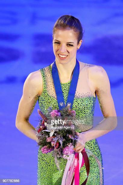 Carolina Kostner of Italy poses with her medal after celebration ceremony in the Ladies Free Skating during the ISU European Figure Skating...