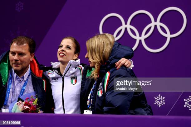 Carolina Kostner of Italy reacts after competing during the Ladies Single Skating Free Skating on day fourteen of the PyeongChang 2018 Winter Olympic...