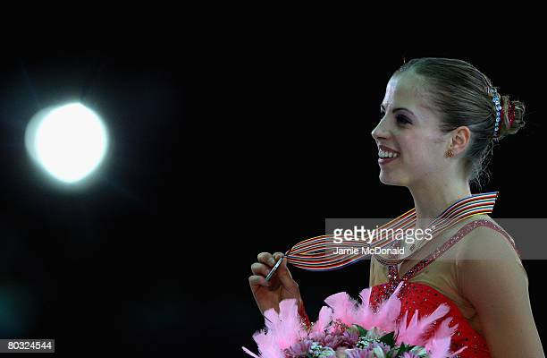 Carolina Kostner of Italy wins silver during her Free Skate during the ISU World Figure Skating Championships at the Scandinavium Arena on March 20...