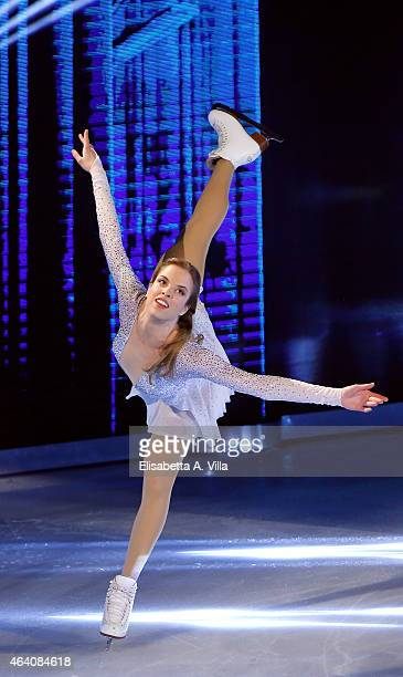 Carolina Kostner performs during the 'Notti Sul Ghiaccio' TV Show at RAI Studios on February 21 2015 in Rome Italy