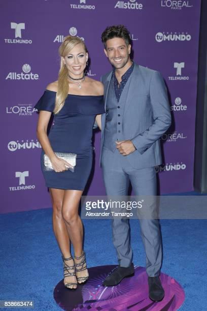 Carolina Laursen and David Chocarro arrive at Telemundo's 2017 'Premios Tu Mundo' at American Airlines Arena on August 24 2017 in Miami Florida