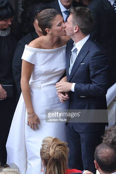 Carolina Marcialis and Antonio Cassano attend their wedding on June 19 2010 in Portofino Italy
