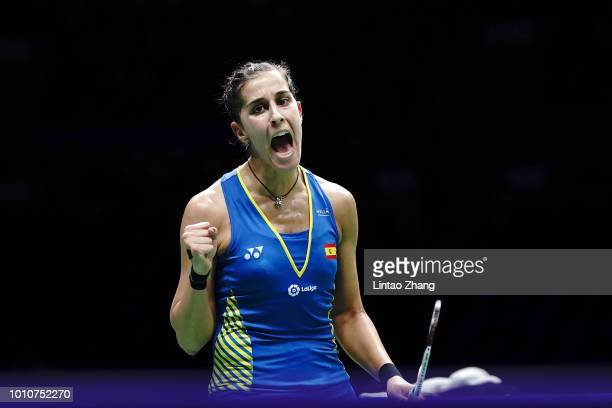 Carolina Marin of Spain celebrate after defeating He Bingjiao of China in their Women's Singles Semifinals match during the Badminton World...