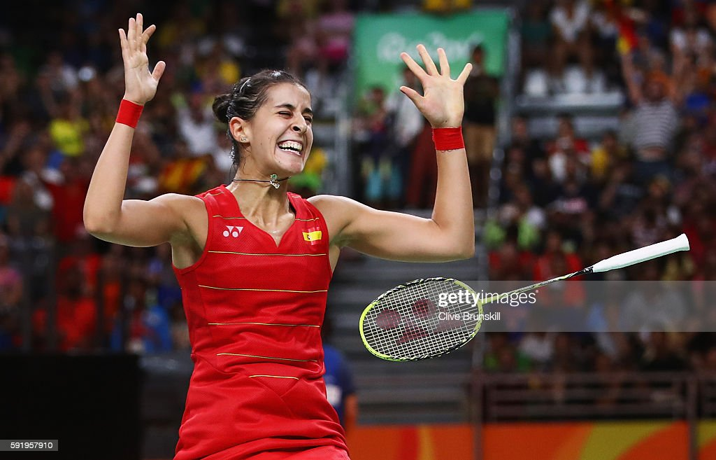 Carolina Marin of Spain celebrates match point against V. Sindhu Pusarla of India during the Women's Singles Gold Medal Match on Day 14 of the Rio 2016 Olympic Games at Riocentro - Pavilion 4 on August 19, 2016 in Rio de Janeiro, Brazil.