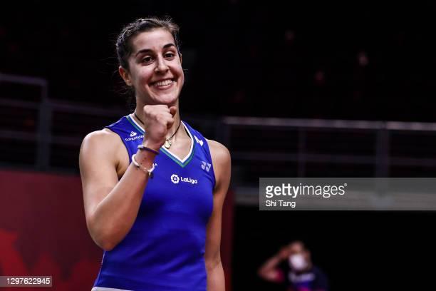 Carolina Marin of Spain celebrates the victory in the Women's Singles second round match against Line Hojmark Kjaersfeldt of Denmark on day three of...