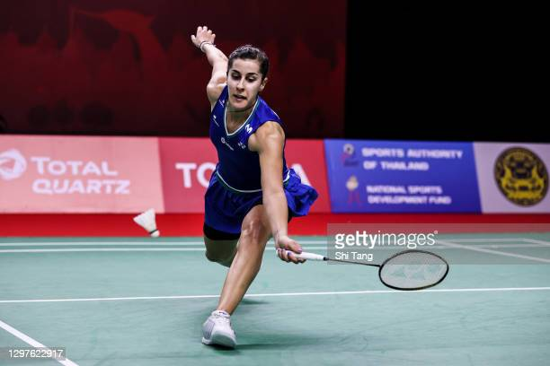 Carolina Marin of Spain competes in the Women's Singles second round match against Line Hojmark Kjaersfeldt of Denmark on day three of the Toyota...