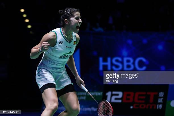 Carolina Marin of Spain reacts in the Women's Singles semi finals match against Tai Tzu Ying of Chinese Taipei on day four of the Yonex All England...