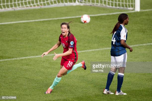Carolina Mendes of Portugal celebrates scoring her sides first goal during the UEFA Women's Euro 2017 Group D match between Scotland v Portugal at...