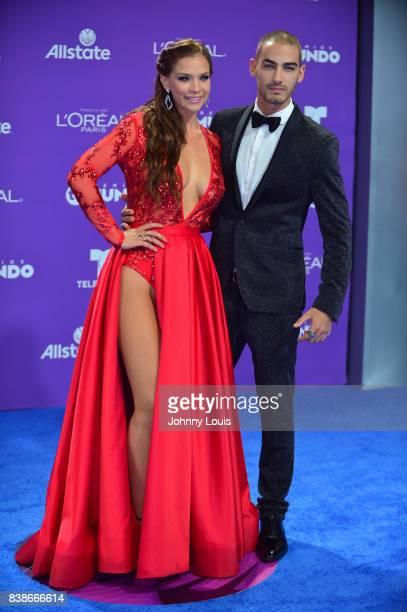 Carolina Miranda and Michel Duval arrive at Telemundo's 2017 'Premios Tu Mundo' at American Airlines Arena on August 24 2017 in Miami Florida