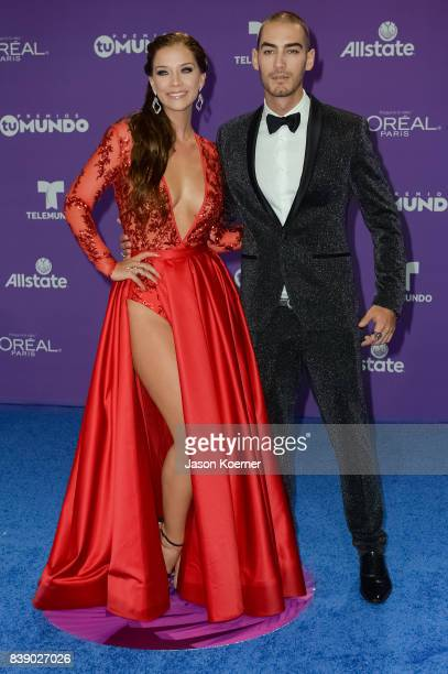 Carolina Miranda and Michel Duval arrives at Telemundo's 2017 'Premios Tu Mundo' at American Airlines Arena on August 24 2017 in Miami Florida