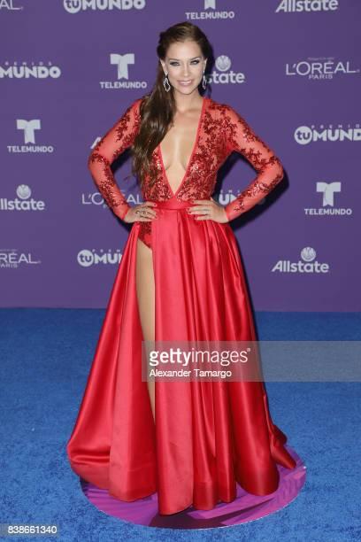 Carolina Miranda arrives at Telemundo's 2017 'Premios Tu Mundo' at American Airlines Arena on August 24 2017 in Miami Florida