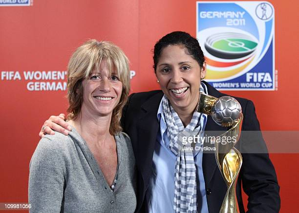 Carolina Morace Head Coach of Canadian national women's team and Steffi Jones Organising Committee President's of Women's World Cup 2011 pose for a...