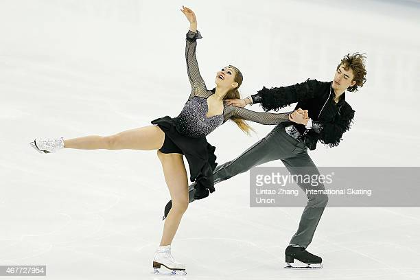 Carolina Moscheni and Adam Lukacs of Hungary perform during the Ice DanceFree Dance on day three of the 2015 ISU World Figure Skating Championships...