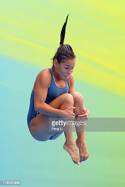 Carolina Murillo of Colombia competes in the Women's 1m Springboard preliminary round during Day Two of the 14th FINA World Championships at the...