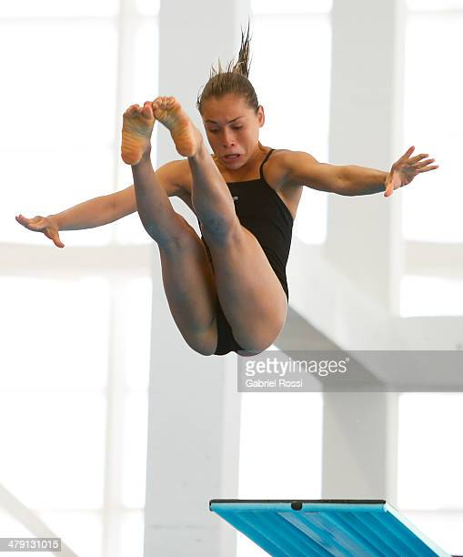 Carolina Murillo Urrea of Colombia competes in Women's 3m Springboard during day 10 of the X South American Games Santiago 2014 at Centro Acuatico...