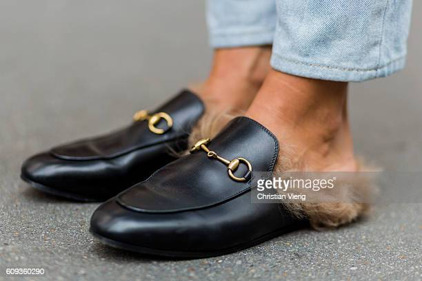 Carolina Nizza wearing Gucci slip ons outside Marques Almeida during London Fashion Week Spring/Summer collections 2017 on September 20 2016 in...
