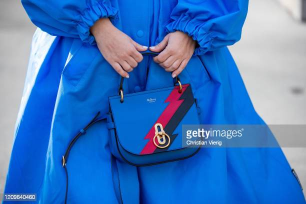 Carolina Ogliaro is seen wearing blue coat and belt Balenciaga, Mulberry bag during Paris Fashion Week - Womenswear Fall/Winter 2020/2021 : Day Six...