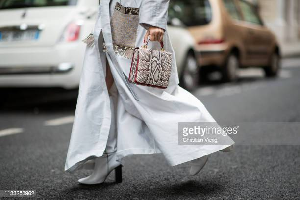 Carolina Ogliaro is seen wearing S'Uvimol coat and bag with snake print Mango boots outside Elie Saab during Paris Fashion Week Womenswear...